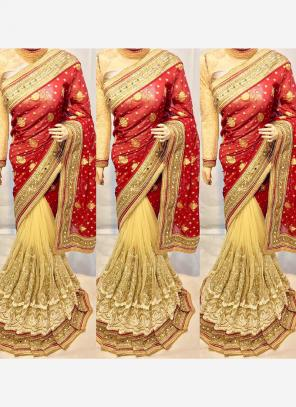Reception Wear Red Net Heavy Embroidery Work Saree