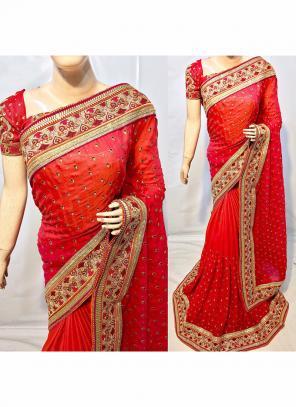 Reception Wear Red Silk Embroidery Work Saree