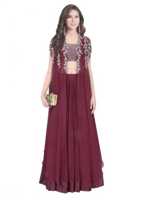 Reception Wear Wine Georgette Silk Embroidery Work Ridhi Mehra Designer Lehenga