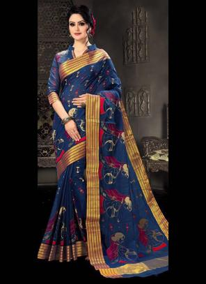 Regular Wear Blue Cotton Silk Embroidery Work Saree