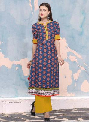 Regular Wear Blue Rayon Digital Print Kurti