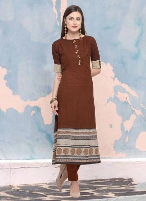 Regular Wear Brown Rayon Digital Print Kurti