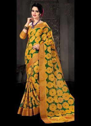 Regular Wear Mustard Cotton Silk Embroidery Work Saree