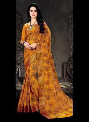 Regular Wear Orange Cotton Silk Embroidery Work Saree