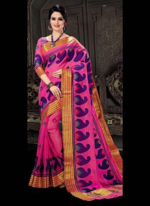 Regular Wear Pink Cotton Silk Embroidery Work Saree