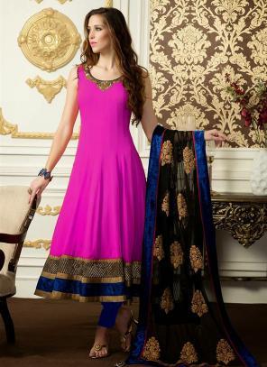 Regular Wear Pink Satin Embroidery Work Anarkali Suit