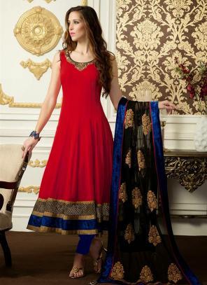 Regular Wear Red Satin Embroidery Work Anarkali Suit