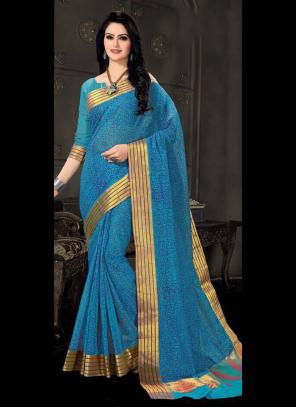 Regular Wear Sky Blue Cotton Silk Embroidery Work Saree