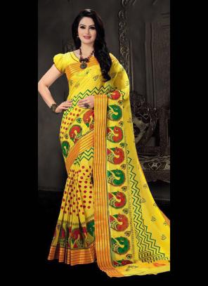 Regular Wear Yellow Cotton Silk Embroidery Work Saree