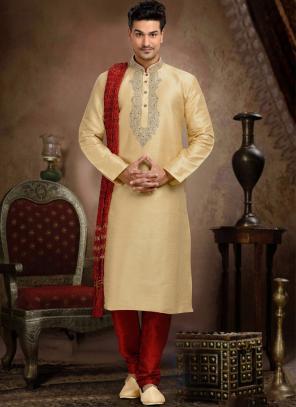 Wedding Wear Beige Dhupion Embroidered Work Churidar Sherwani