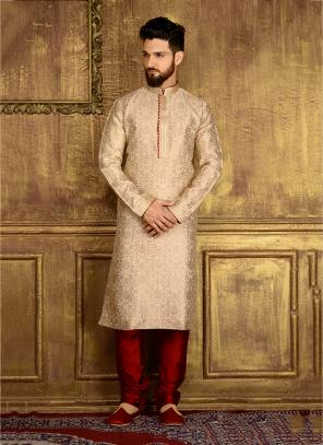 Wedding Wear Beige Jacqaurd Silk Lace Work Kurta Pajama