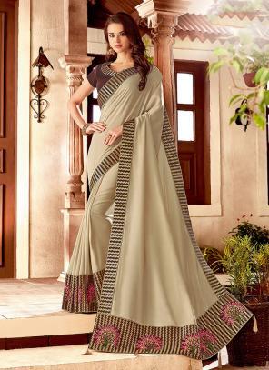 Wedding Wear Beige Silk Embroidery Work Saree