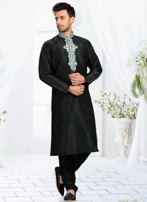 Wedding Wear Black Dhupion Embroidered Work Churidar Sherwani