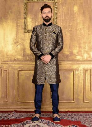Wedding Wear Black Jacqaurd Embroidery Work Sherwani