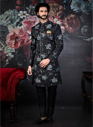 Wedding Wear Black Jacquard Weaving Latest Indowestern Sherwani
