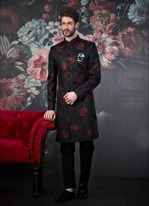Wedding Wear New Black Jacquard Weaving Indowestern Sherwani