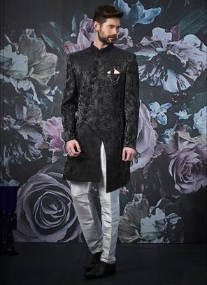 Wedding Wear Jacquard Black Weaving Indowestern Sherwani