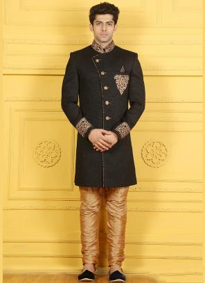 Wedding Wear Black Jute Silk Embroidered Work Sherwani