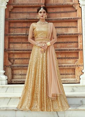 Wedding Wear Golden Net Sequins Work Lehenga Choli