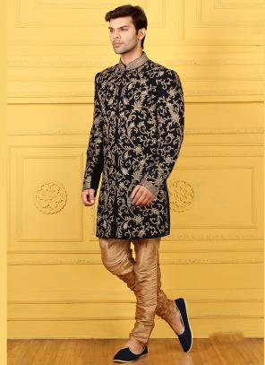 Wedding Wear Black Velvet Embroidered Work Sherwani