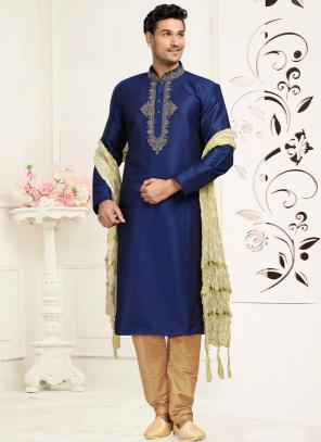 Wedding Wear Blue Dhupion Embroidered Work Churidar Sherwani