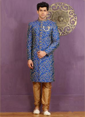 Wedding Wear Blue Jacquard Embroidered Work Sherwani