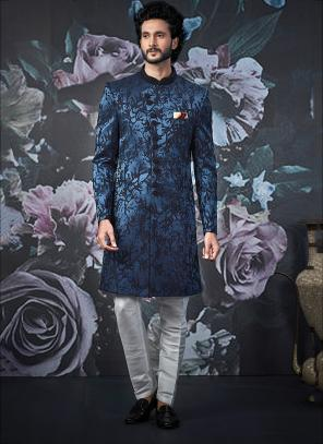 Wedding Wear Blue Indowestern Jacquard Weaving Sherwani