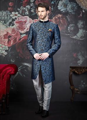 Wedding Wear Blue Jacquard Weaving Indowestern Designer Sherwani