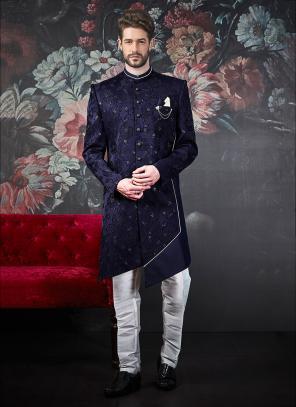 Wedding Wear Blue Jacquard Indowestern Weaving Sherwani
