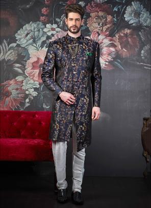Wedding Wear Jacquard Blue Weaving Sherwani