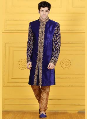 Wedding Wear Blue Velvet Embroidered Work Sherwani