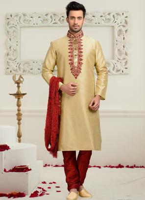 Wedding Wear Cream Art Silk Embroidered Work Churidar Sherwani