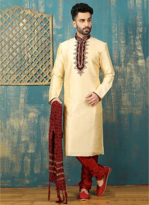Wedding Wear Cream Art Silk Embroidered Work Sherwani