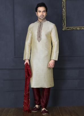 Wedding Wear Embroidery Work Cream Art Silk Sherwani Style