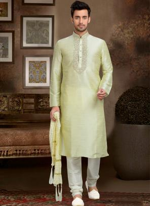 Wedding Wear Cream Dhupion Embroidered Work Churidar Sherwani