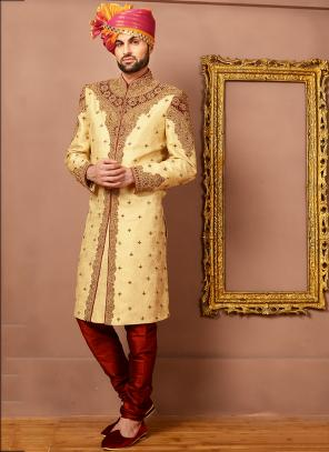 Wedding Wear Cream Jacquard Silk Heavy Embroidery Work Sherwani