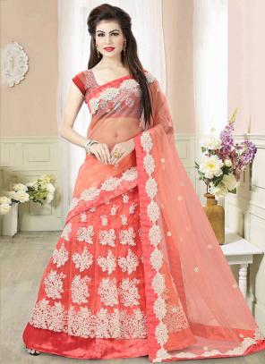 Wedding Wear Gajri Net Embroidered Work Lehenga Choli