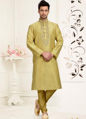 Wedding Wear Golden Dhupion Embroidered Work Churidar Sherwani