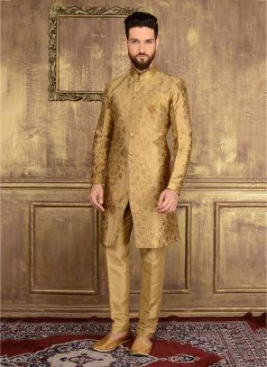 Wedding Wear Golden Jacqaurd Embroidery Work Sherwani