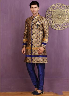 Wedding Wear Golden Jacquard Embroidered Work Sherwani