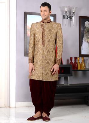 Wedding Wear Golden Jacquard Silk Embroidery Work Sherwani