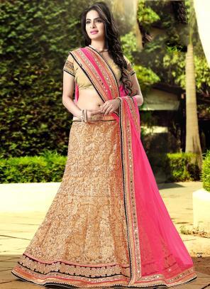 Wedding Wear Golden Net Embroidered Work Lehenga Choli