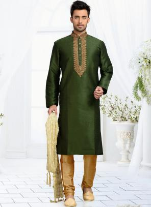Wedding Wear Green Art Silk Embroidered Work Churidar Sherwani