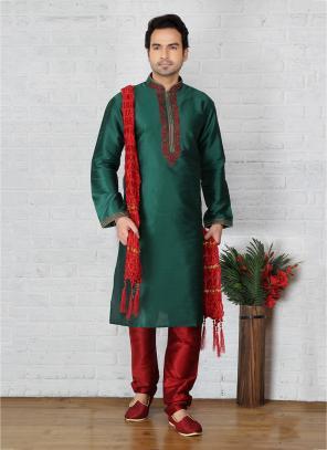 Wedding Wear Green Embroidery Work Art Silk Sherwani