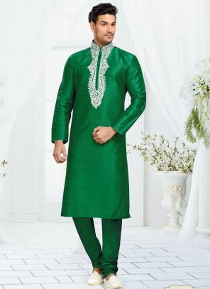 Wedding Wear Green Dhupion Embroidered Work Churidar Sherwani