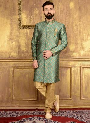 Wedding Wear Green Jacqaurd Embroidery Work Sherwani