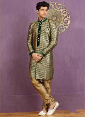 Wedding Wear Green Jacquard Embroidered Work Sherwani