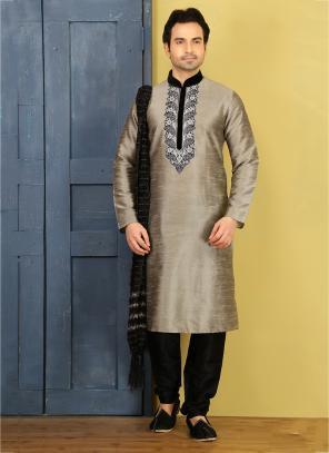 Wedding Wear Grey Embroidery Work Art Silk Sherwani