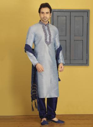 Wedding Wear Art Silk Embroidery Work Grey Sherwani Style