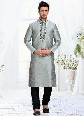 Wedding Wear Grey Dhupion Embroidered Work Churidar Sherwani
